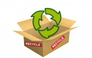 Brown recycled cardboard box with green recycing symbol around it