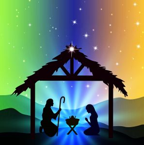 nativity scene for christmas colourful sky with stars mary joseph and jesus in crib
