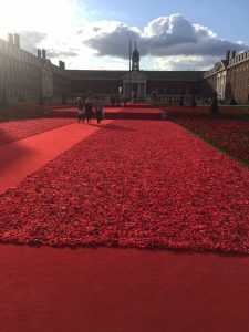 Chelsea Military Hospital with thousands of poppies like a carpet made of wool