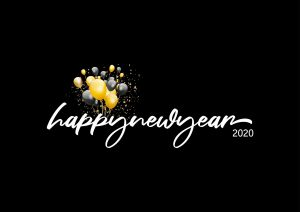 black background white italic writing Happy New Year 2020 balloons in background