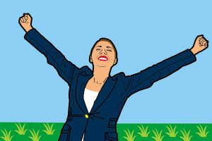 Free and happy suited business woman celebrating with arms stretched