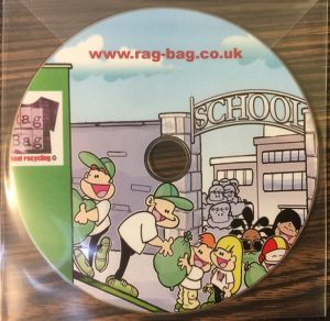 cd with cartoon characters loading bags of rags for recycling on to a lorry