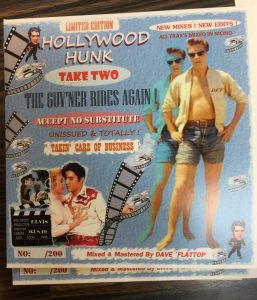 Retro look card wallet with hollywood vibe, man in sunglasses and hollwood couple dancing