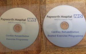 cardiac exercise DVD's in plastic wallets for the NHS side by side