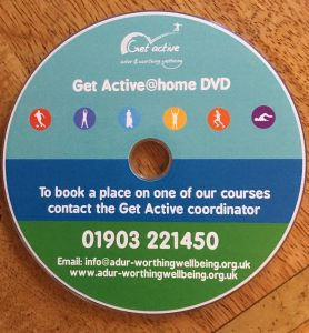 Blue and Green striped DVD with council of Adur & Worthing logo and text about getting active with phone number to call