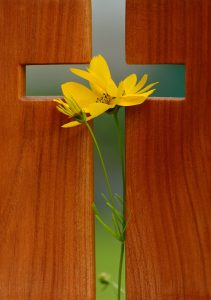 greean easter cross with yellow flowers placed across it