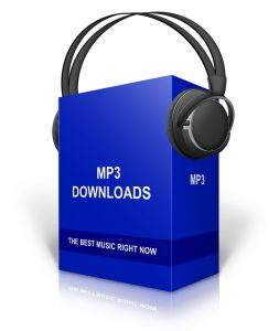 black headphones on MP3 blue box symbolising digital download