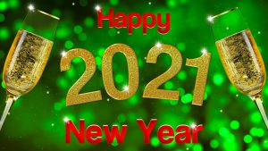 grenn background red and gold words Happy New Year and 2 champagne glasses